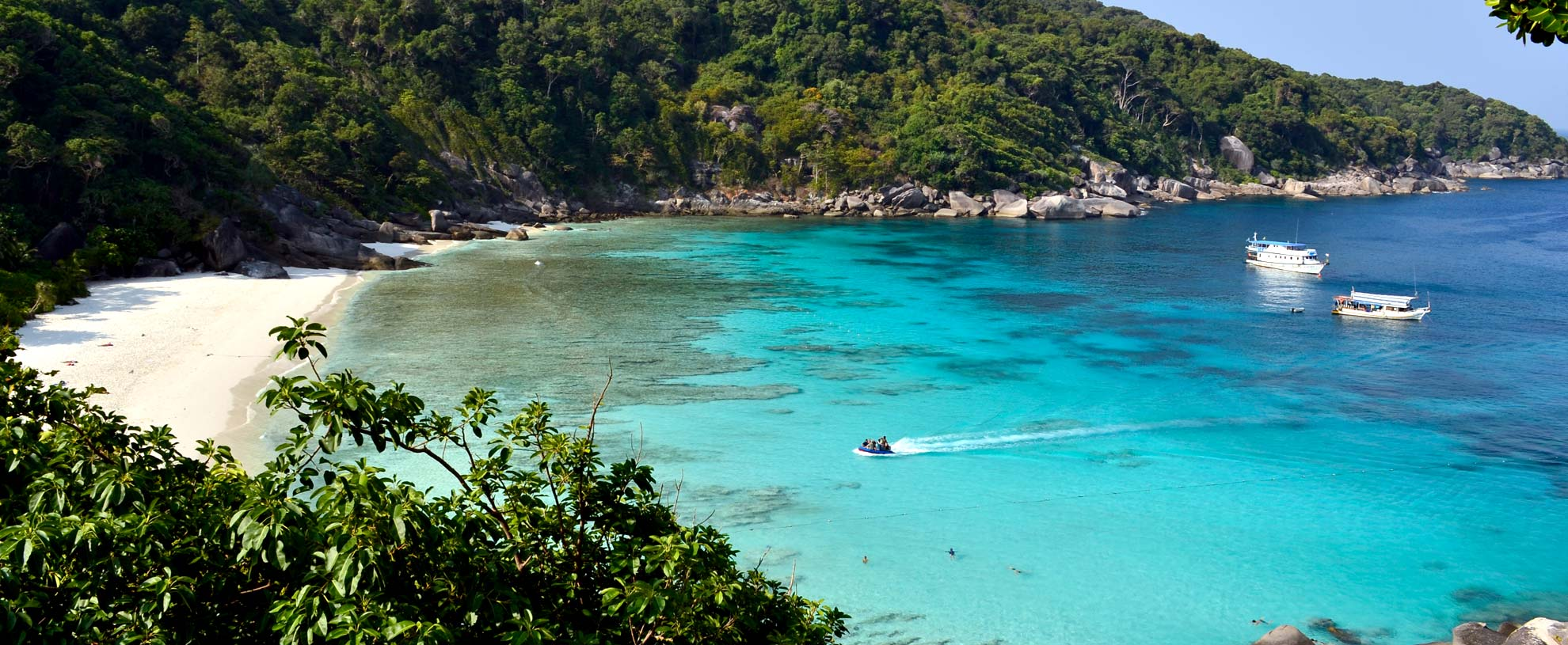 Donald Duck bay and  beach from Similan Island no.8 lookout