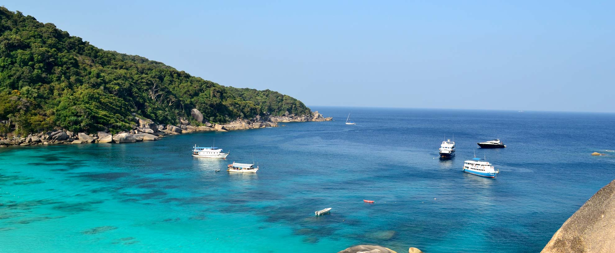 Similan Island liveaboards anchored in Donald Duck Bay