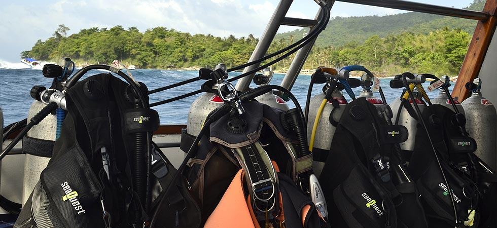 Scuba diving gear onboard the scuba explorer